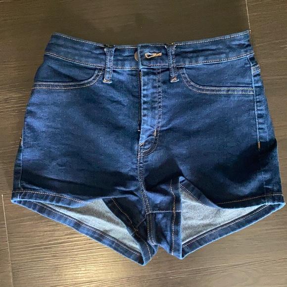 High rise jean shorts.